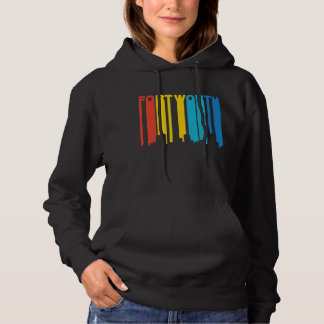 Retro 1970's Style Fort Worth Texas Skyline Hoodie