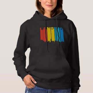 Retro 1970's Style Lansing Michigan Skyline Hoodie