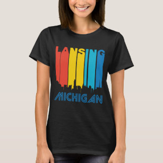 Retro 1970's Style Lansing Michigan Skyline T-Shirt