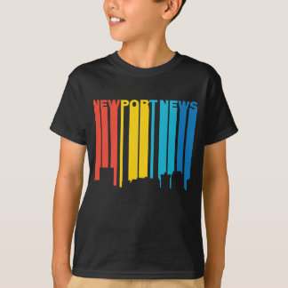 Retro 1970's Style Newport News Virginia Skyline T-Shirt