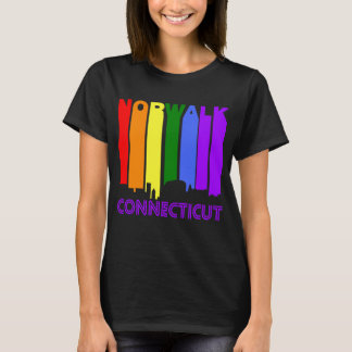 Retro 1970's Style Norwalk Connecticut Skyline T-Shirt