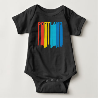 Retro 1970's Style Portland Maine Skyline Baby Bodysuit