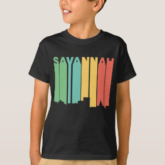 Retro 1970's Style Savannah Georgia Skyline T-Shirt