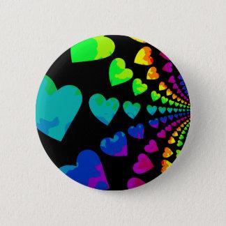 Retro 1980's style rainbow hearts 6 cm round badge
