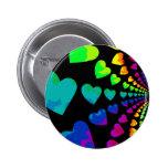 Retro 1980's style rainbow hearts pinback button