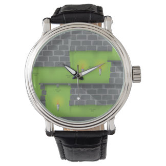 Retro 1980s video game graphic. Dungeon game Wrist Watches