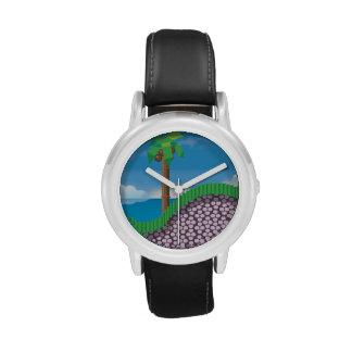 Retro 1980s video game graphic. wristwatch