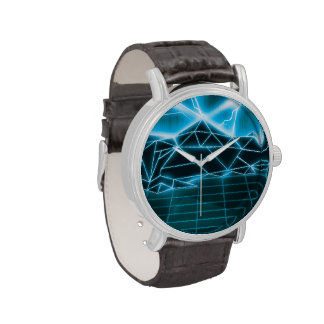 Retro 1980s video game graphic. wrist watches