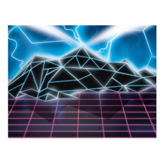 Retro 1980s video game graphic postcard