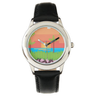 Retro 1980s video game graphic. wrist watch