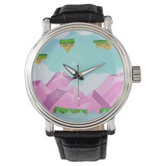 Retro 1980s video game graphic. wrist watch