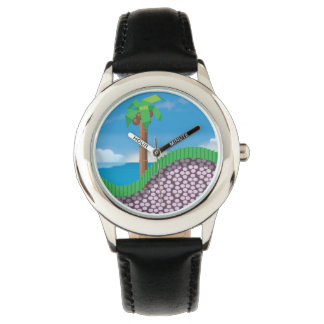 Retro 1980s video game graphic. wrist watches