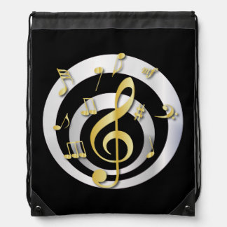 Retro 3D Effect Gold and Silver Musical Notes Rucksacks