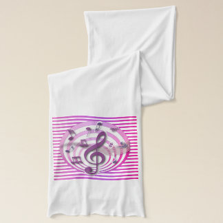 Retro 3D Effect Pink Musical Notes Scarf