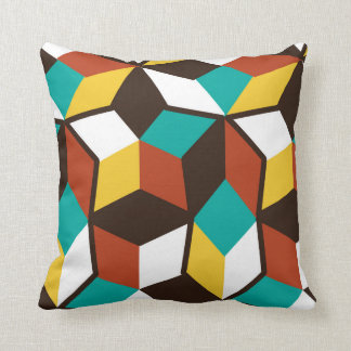 Retro 3D Geometric Pattern Colorful Throw Pillow