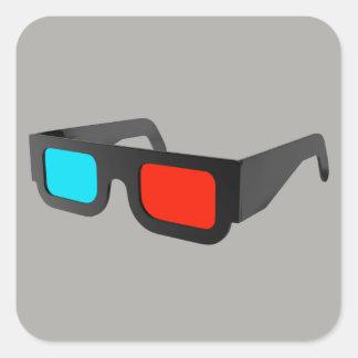 Retro 3D Glasses Graphic Square Sticker