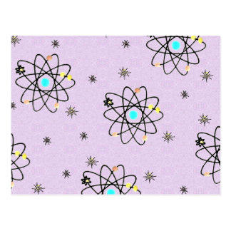 Retro 50s Atomic Print Lavender Apparel & Gifts Postcard