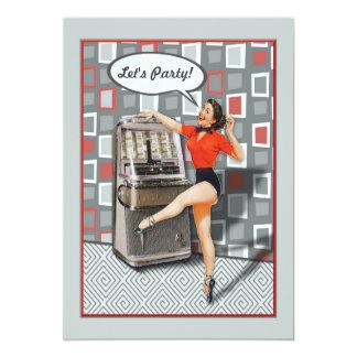 Retro 50s Jukebox Pinup Girl Party Custom 13 Cm X 18 Cm Invitation Card