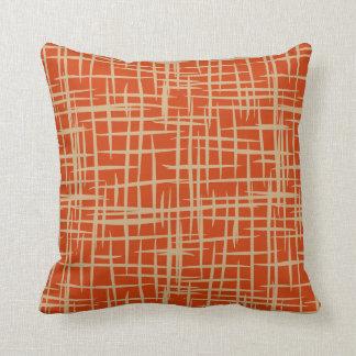 retro 50s pattern throw pillow terracotta