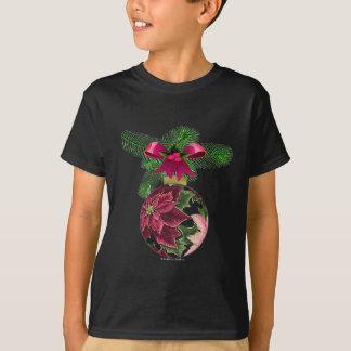 Retro 50s Poinsettia Burgundy Ornament T-Shirt