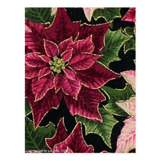 Retro 50s Poinsettia Burgundy Pink Postcard