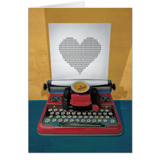 Retro 50s Typewriter Vintage Heart to Customize Card