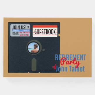 Retro 5.25 Floppy Disk Retirement Party Guestbook