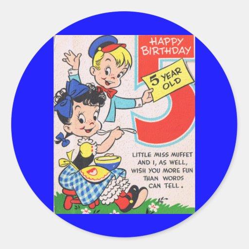 Retro 5th Birthday Card Round Sticker