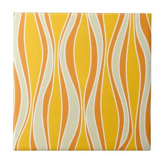 Retro 60ies orange wave pattern tile