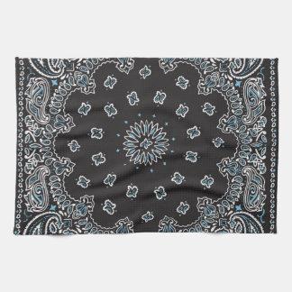 Retro 60s 70s Hippy Black Bandanna Tea Towel