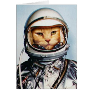 Retro 60s Astronaut Cat Card