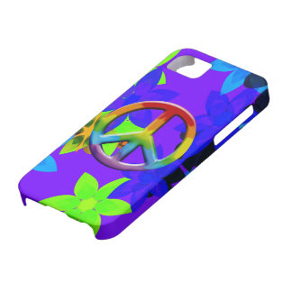 Retro 60's Flower Power Peace Sign Art iPhone Case