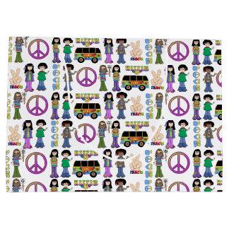 Retro 60s Hippie Love Peace Large Gift Bag