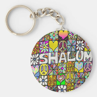 Retro 60s Psychedelic Shalom LOVE Apparel Gifts Basic Round Button Key Ring