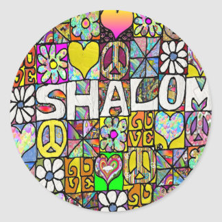 Retro 60s Psychedelic Shalom LOVE Apparel Gifts Classic Round Sticker