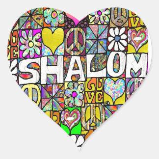 Retro 60s Psychedelic Shalom LOVE Heart Sticker