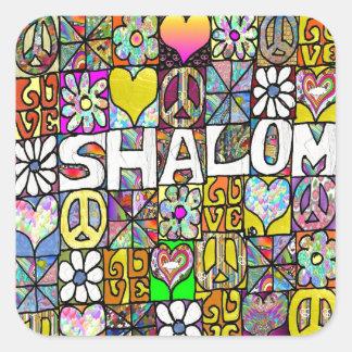 Retro 60s Psychedelic Shalom LOVE Square Sticker
