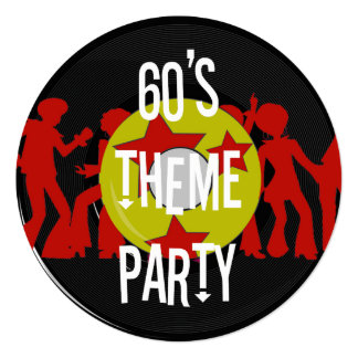 Retro 60's Theme Party Invitations