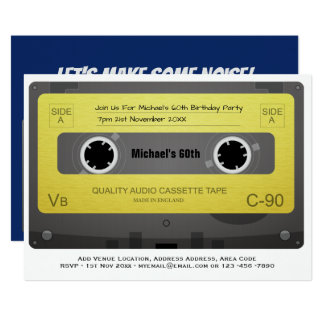 RETRO 60th Birthday MAN Invite Music Cassette 60s