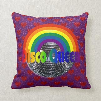 Retro 70s Disco Ball Dance Queen   Rainbow Hearts Cushion