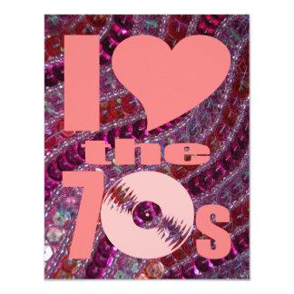 Retro 70s Girly Pink Purple Glitter Sequins 11 Cm X 14 Cm Invitation Card