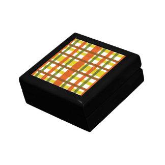 Retro 70s Orange Yellow Plaid Small Square Gift Box