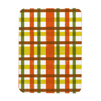Retro 70s Orange Yellow Plaid Rectangular Photo Magnet