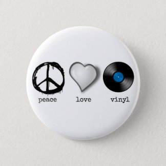 Retro 70s Peace Love Vinyl 6 Cm Round Badge