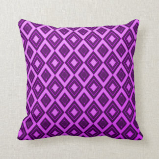 Retro 70's Purple Diamond Pattern Throw Pillow