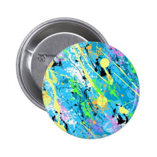 "Retro 80""s Paint Splatter - Blue 6 Cm Round Badge"