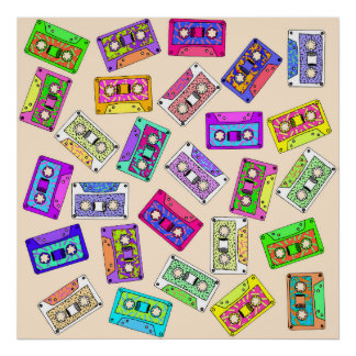 Retro 80's 90's Neon Patterned Cassette Tapes Poster