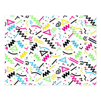Retro 80's 90's Neon Pink Green Blue Yellow Doodle Postcard