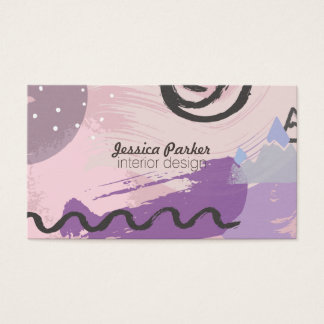 Retro 80's 90's Purple Sketched Doodle Shapes Business Card