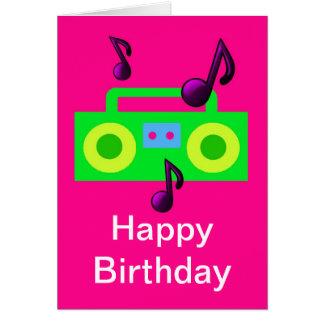 retro 80s birthday happy birthday boombox music greeting card